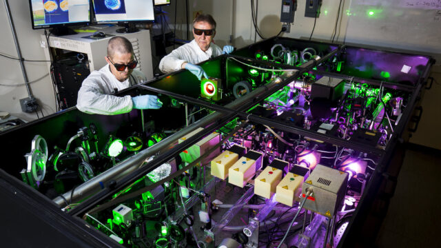 Anatoly Maksimchuk, EECS Research Scientist, and John Nees, EECS Associate Research Scientist, demonstrate use of the HERCULES 300 TW laser in the Carl A. Gerstacker Building on North Campus of the University of Michigan in Ann Arbor, MI on September 5, 2017. The HERCULES laser holds the Guiness World Records certificate for highest intensity focused laser, producing a beam of 2x10^22 W/cm^2 or 20 billion trillion watts per square centimeter. Photo: Joseph Xu/Senior Multimedia Content Producer, University of Michigan - College of Engineering