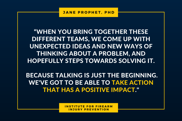 """""""When you bring together these different teams, we come up with unexpected ideas and new ways of thinking about a problem, and hopefully steps towards solving it. Because talking is just the beginning. We've got to be able to take action that has a positive impact."""""""
